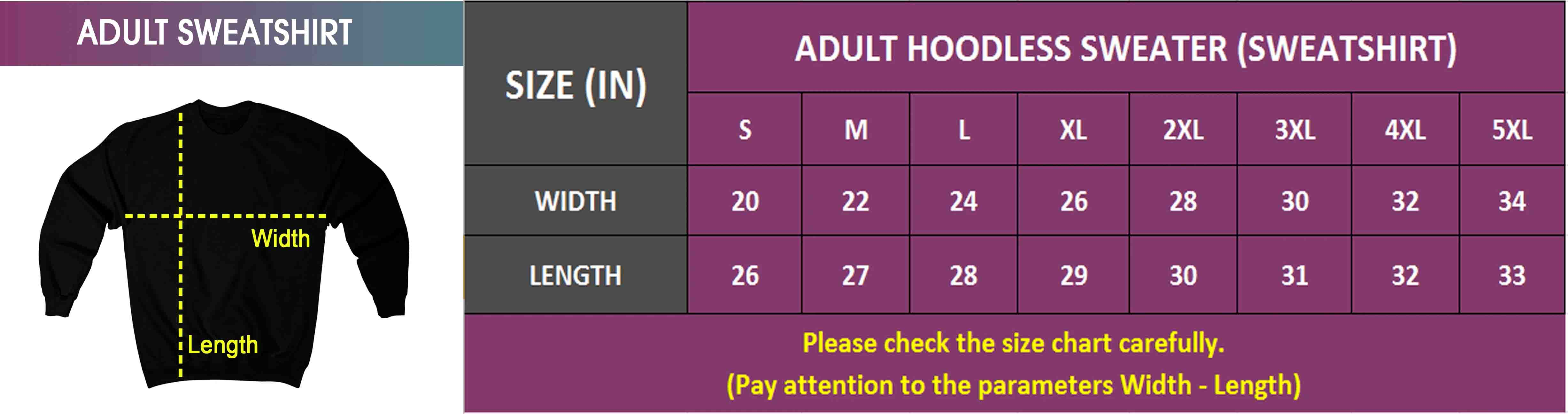 Adult & Youth Sweatshirt | Size Chart
