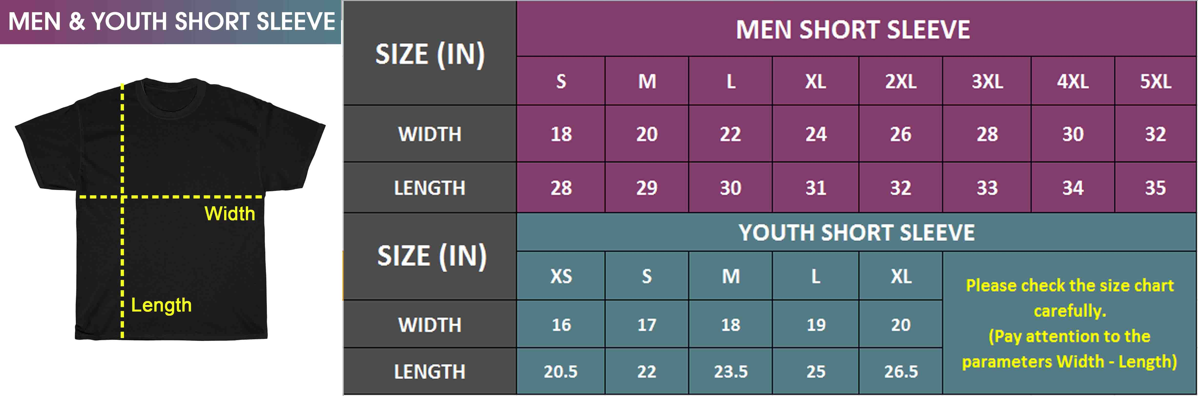 Men & Youth Short Sleeve | Size Chart