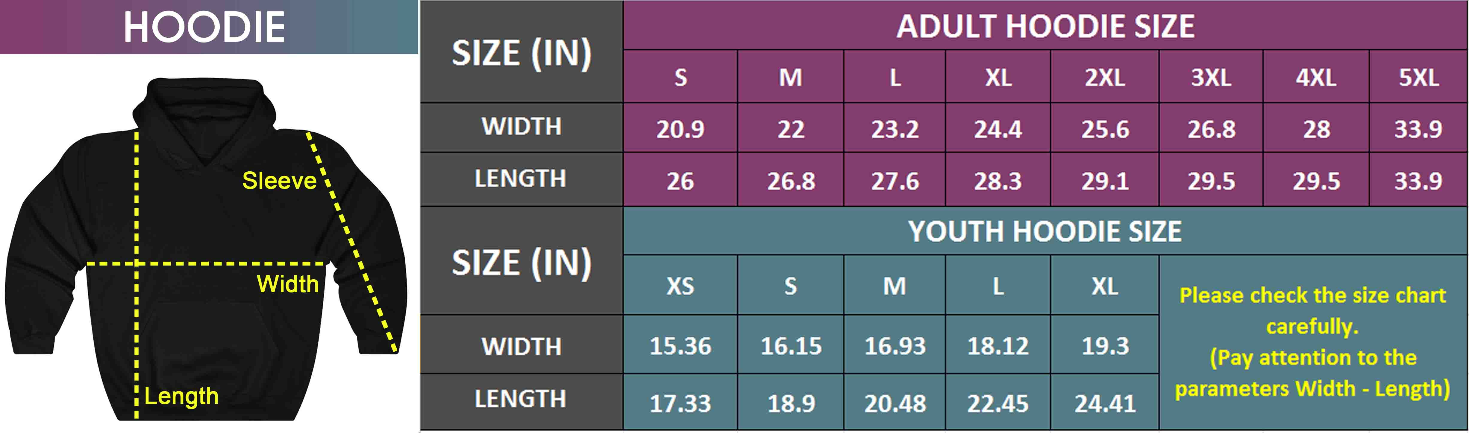 Adult & Youth Hoodie | Size Chart