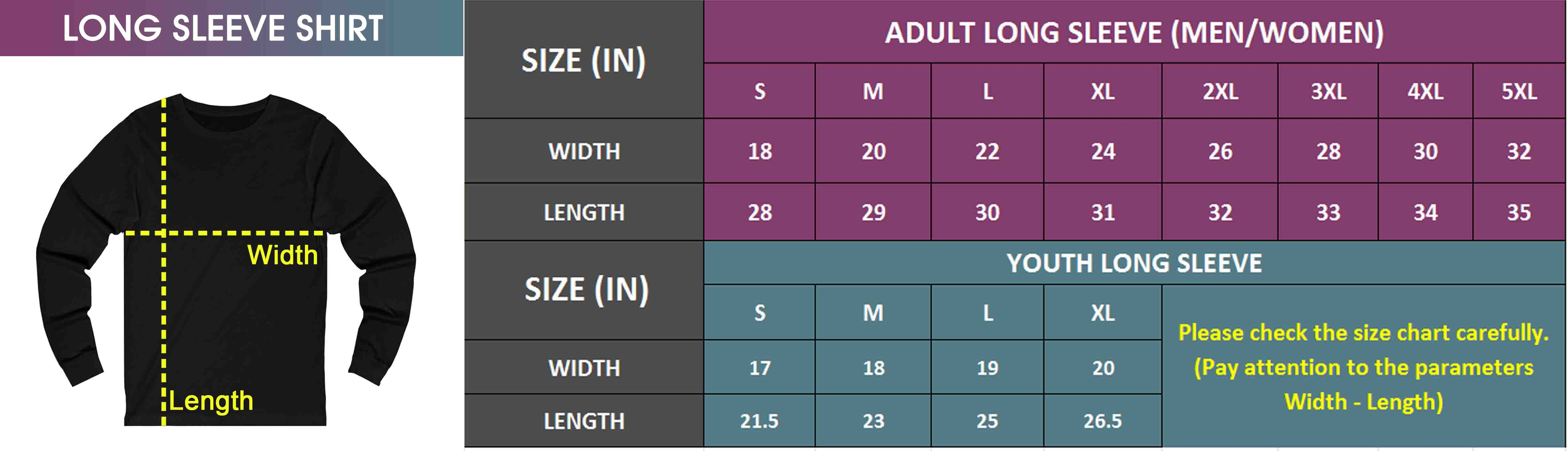 Adult & Youth Long Sleeve | Size Chart