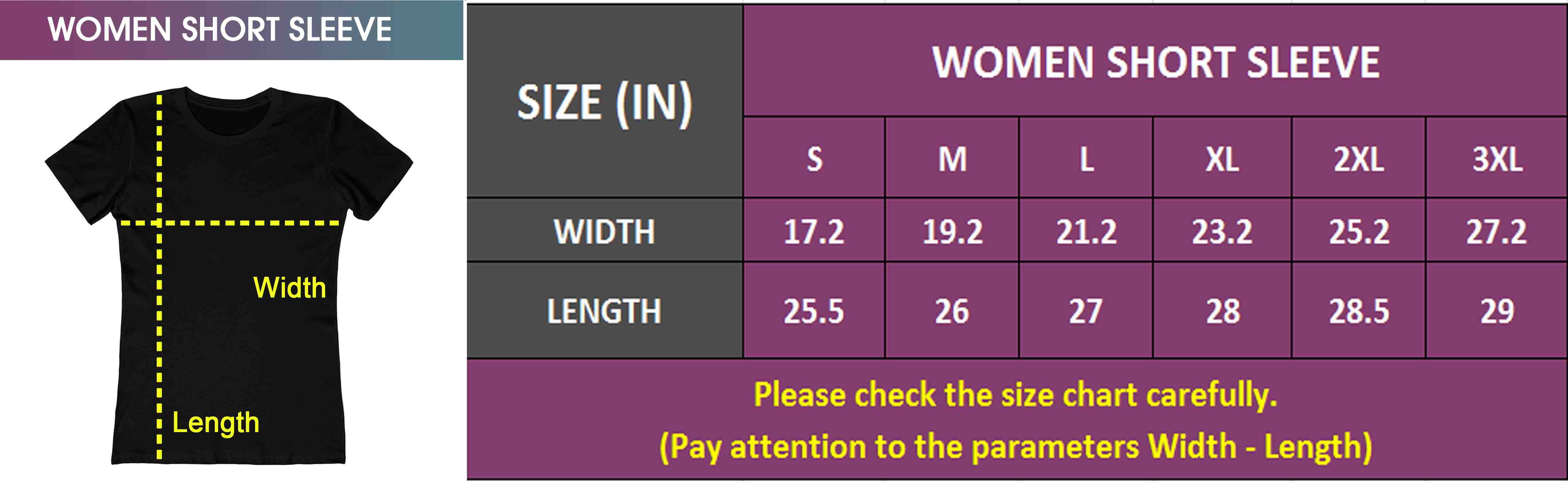 Women Short Sleeve | Size Chart